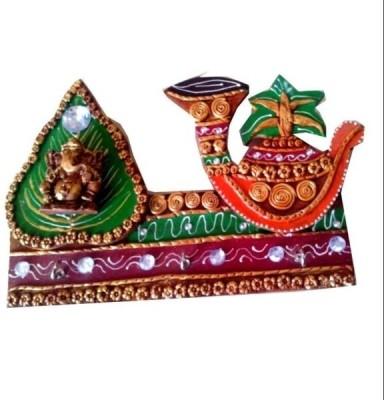 Chitra Handicraft Leaf Kalash Key Holder Wooden Key Holder