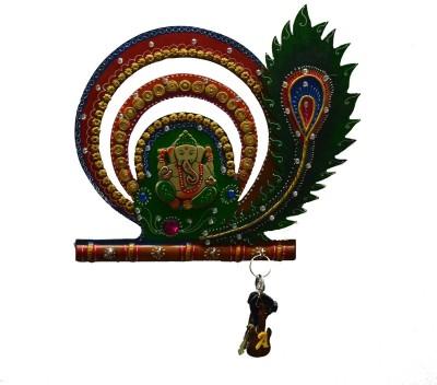 eCraftIndia Lord Ganesha with Mor Pankh Ceramic, Wooden Key Holder(4 Hooks, Multicolor)