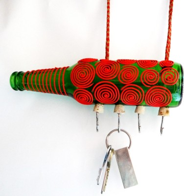 Kavi The Poetry Art Project Red Spiral Hanger Glass, Iron, Wooden Key Holder