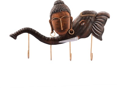 eCraftIndia Buddha Head on Elephant Trunk Iron Key Holder(4 Hooks, Red, Brown)