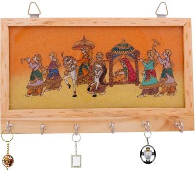 Polkakart Gemstone Painting Key Hanger Handicraft Decorative Wooden Key Holder Wooden Key Holder