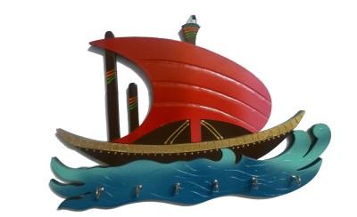 Desert Eshop Boat Shaped Wooden Key Holder