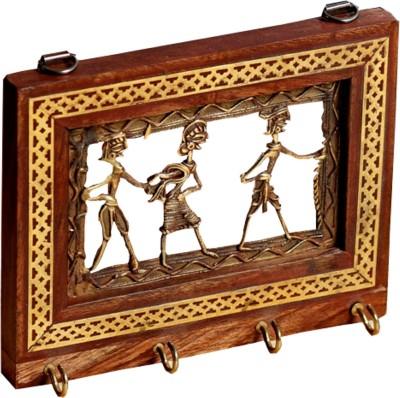 Aapno Rajasthan Tribal Motif Wooden Key Holder