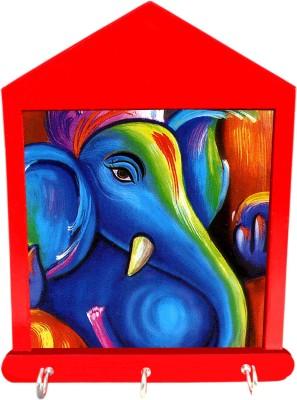 Tiedribbons Gifts For Diwali Ganesha In Blue Wooden Key Holder