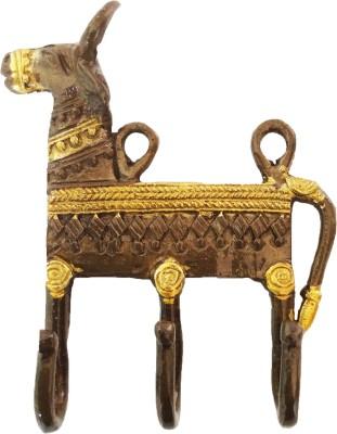 Aakrati Brass Key Holder(3 Hooks, Brown)