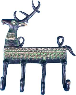 Aakrati Brass Key Holder(4 Hooks, Green)