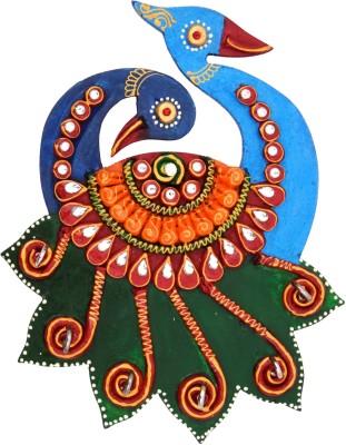 My DT Lifestyle Rajsthani Kundan Peacock Wooden Key Holder