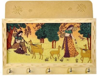 Balaji Art Little India Gemstone Painting (25.4 cm x 12.7 cm) Wooden Key Holder