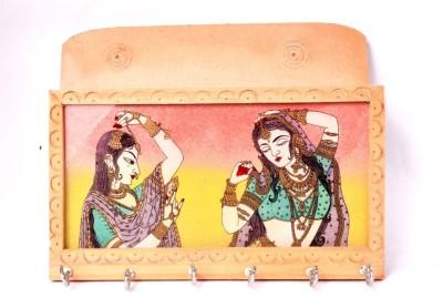 Krishna-Creation Painting Key Holder Wooden Key Holder