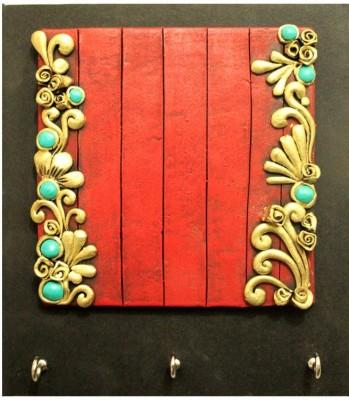 Kraftnation Red & Golden Designer Terracotta Key Holder