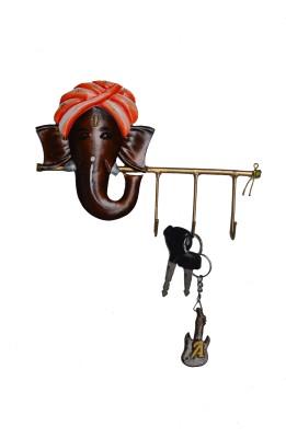 eCraftIndia Wrought Lord Ganesha Iron Key Holder(3 Hooks, Multicolor)