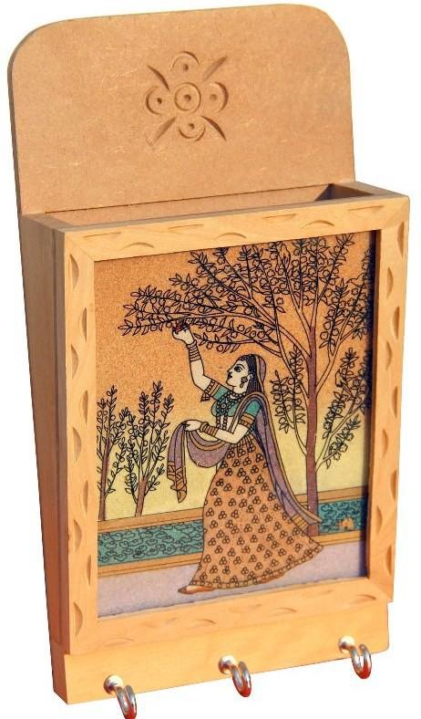 Handicrafts Paradise Wooden, Glass, Stoneware Key Holder(3 Hooks, Multicolor)