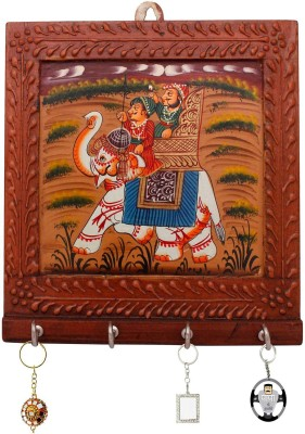 Indigocart Wooden Carved and Hand painted Four Key Stand Wooden Key Holder