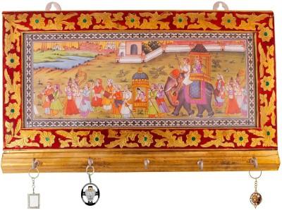 Indigocart Golden Minakari Art Work 5 Key Stand Wooden Key Holder