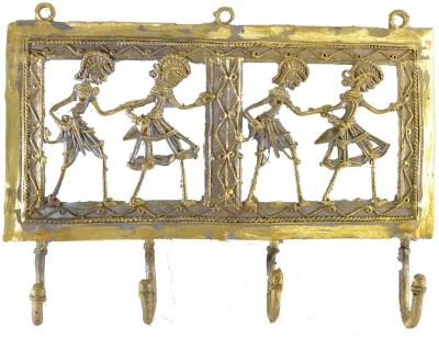 Chinhhari Arts 4 Hook Jaali Hanger Brass Key Holder