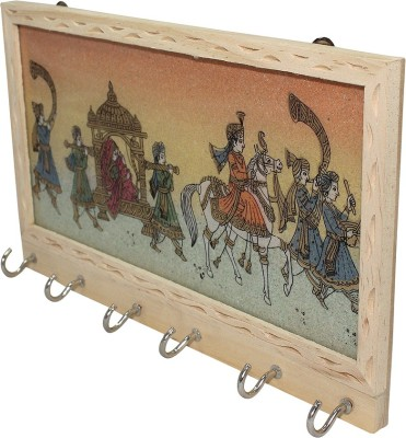 Ranvijay Rajasthani Painting Wooden Key Holder