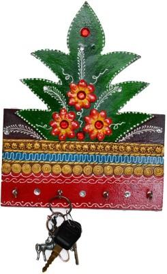 eCraftIndia Papier-Mache Tree Design 4 Hooks Wooden Key Holder