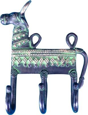 Aakrati Brass Key Holder(3 Hooks, Green)