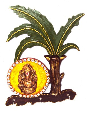 Traditional Rajasthan Ganesha and Banana Tree Aluminium Key Holder