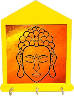Tiedribbons Meditating Budha In Yellow Wooden Key Holder