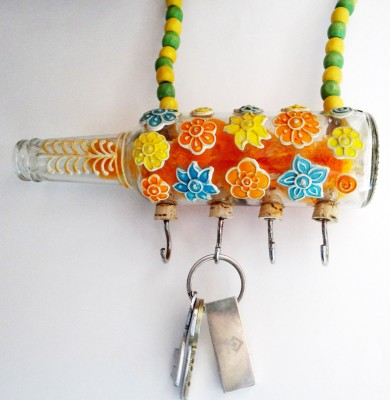 Kavi The Poetry Art Project Colourful Flower Hanger Glass, Iron, Wooden Key Holder