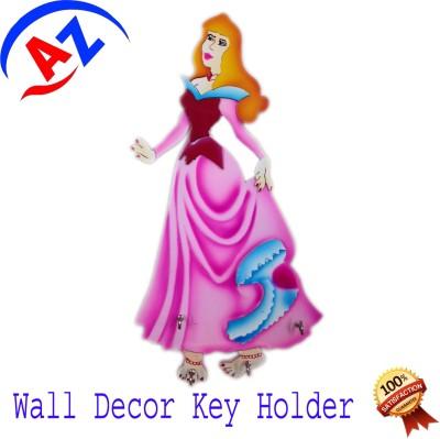 A To Z Sales AZ06 Wooden Key Holder(4 Hooks, Multicolor)