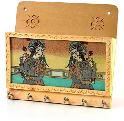 Shree Sai Rajasthani Handicraft Gemstone Painting Gift Wooden Key Holder