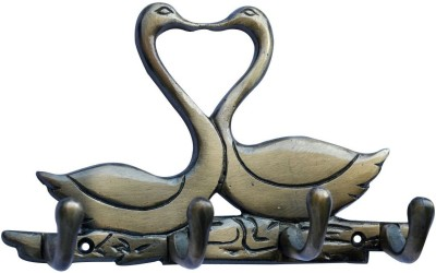 Aakrati Metal Animal Shape two Duck with 4 Hooks Crafted Aluminium Key Holder