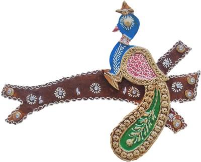 JaipurCrafts Decorative Peacock Sitting On Tree Wooden Key Holder