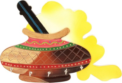 Artistic Handicrafts Dahi handi design Wooden Key Holder
