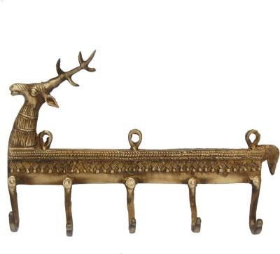 Aakrati Brass Key Holder(5 Hooks, Yellow)