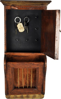 Lal Haveli Hand Made Magazine Stand Beauiful Decorative Showpiece Wall Hanging Wooden Key Holder