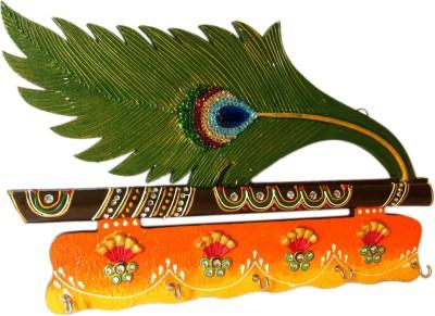 Shree Sai Peacock Design Wooden Key Holder Handicraft Item Wooden Key Holder