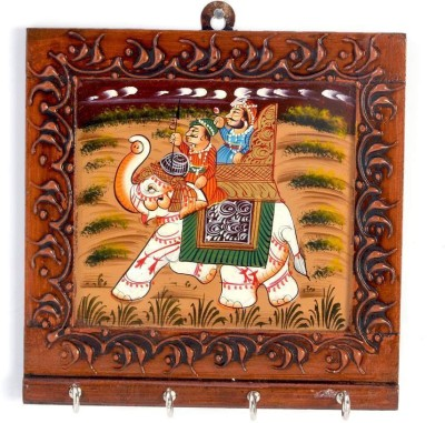 Shree Sai Rajasthani Handicraft Carved and Hand painted Gift Wooden Key Holder