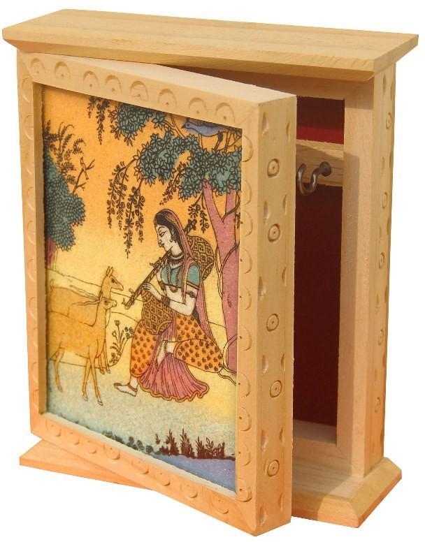 Handicrafts Paradise Wooden, Glass, Stoneware Key Holder(2 Hooks, Multicolor)