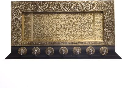 Smile2u Retailers Rajasthani Art Worked Wooden, Brass Key Holder(7 Hooks)