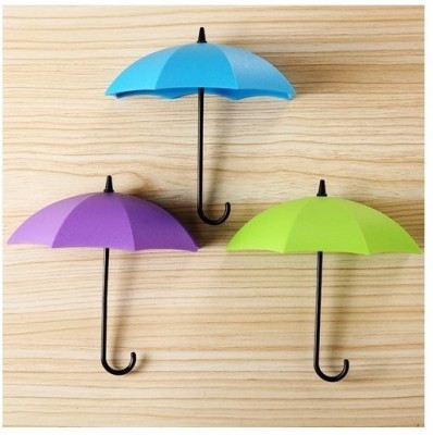 Vmore 3 pcs Umbrella Drop Style Clothes Key Hat Wall Hanger Hooks for Bathroom Kitchen Plastic Key Holder