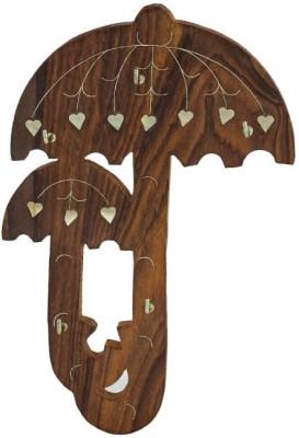 Onlineshoppee Wall Mounted Umbrella Design Key Holder Wooden Key Holder
