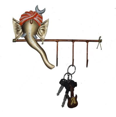 eCraftIndia Lord Ganesha Iron Key Holder(3 Hooks, Orange, Gold)