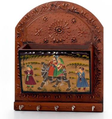 Shree Sai Rajasthani Handicraft Hand Painted Magazine Gift Wooden Key Holder