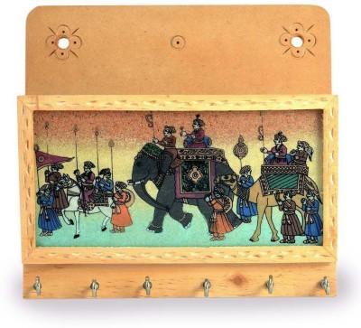 Shree Sai Rajasthani Handicraft Gemstone Painted Letter Gift Wooden Key Holder