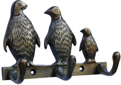 Aakrati 3 Penguin Statue Metal for Wall Decoration Aluminium Key Holder