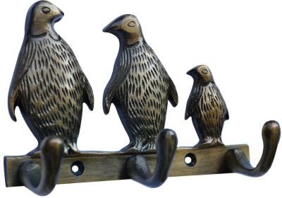 Aakrati 3 Penguin Statue Metal for Wall Decoration Aluminium Key Holder(3 Hooks, Black, Brown)