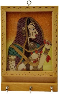 Desert Eshop Rajasthani Gemstone Painting Key Holder Gift -121 Wooden Key Holder