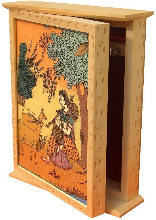 Handicrafts Paradise Wooden, Glass, Stoneware Key Holder(4 Hooks, Multicolor)