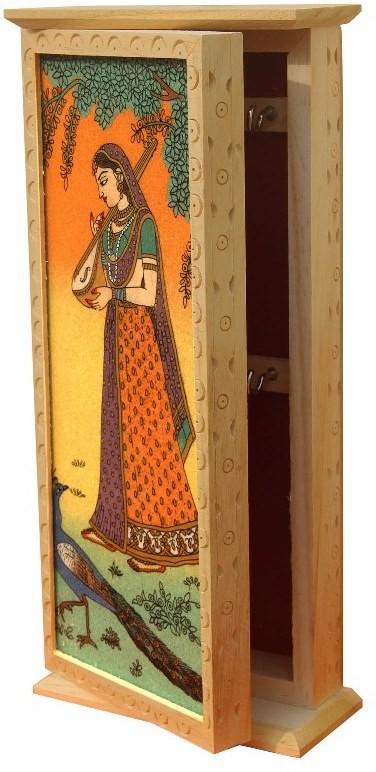 Handicrafts Paradise Wooden, Glass, Stoneware Key Holder(6 Hooks, Multicolor)