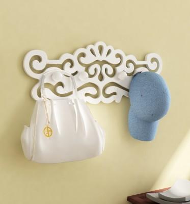 Home Sparkle Wall Hanger Wooden Key Holder(4 Hooks, White)