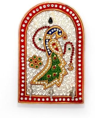 Little India Golden Peacock Meenakari Work Stoneware Key Holder
