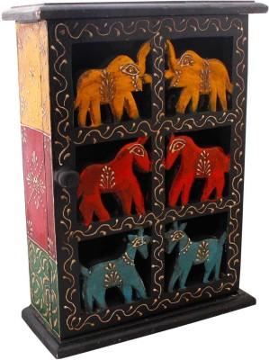 Indigocart Floral Work & Animal Design Wooden Box Wooden Key Holder Wooden Key Holder