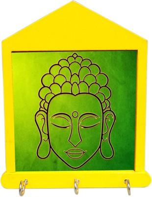 Tiedribbons Green Medidating Budha Wooden Key Holder